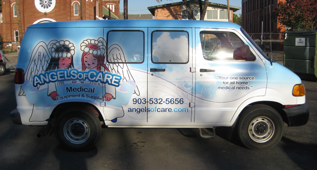 Custom vinyl van wraps for Angels Of Care in Dallas TX