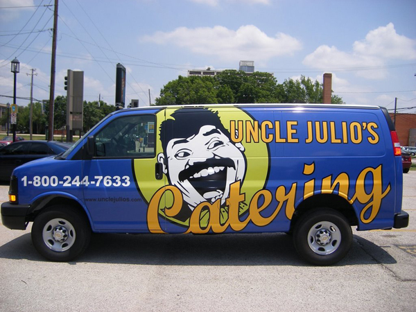 Full graphics wrap of a catering van for Uncle Julio's Mexican Restaurant in Dallas, TX.