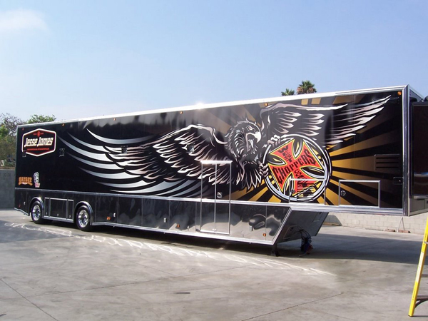 Trailer wraps installed on a hauler for West Coast Choppers in California