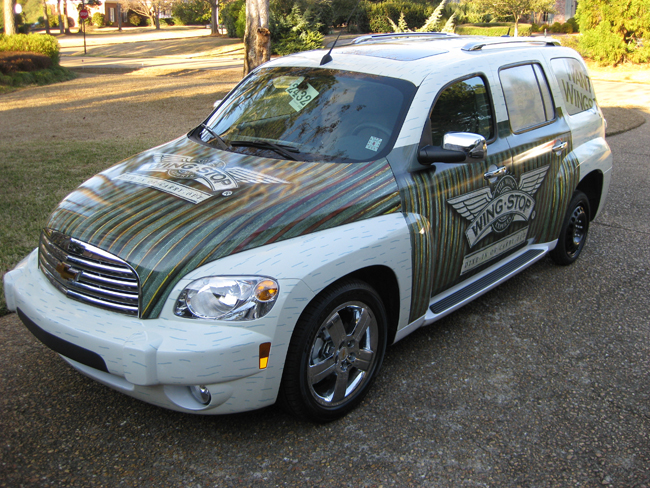Vinyl vehicle wraps for Wing Stop in Jackson, Mississippi.