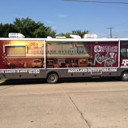 Aggieland Outfitters Dallas Bus Wrap
