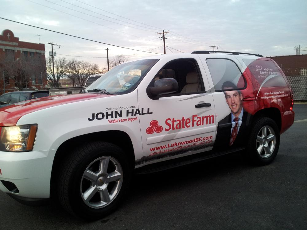 vinyl suv wrap for john hall of state farm in lakewood dallas skinzwraps. Black Bedroom Furniture Sets. Home Design Ideas