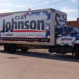 Mobile Box Truck Wrapping Advertising for Clay Johnson