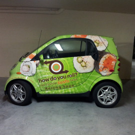 Wrapped smart car for sushi restaurant