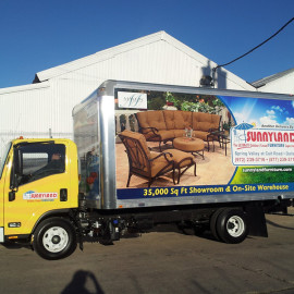 Mobile Box Truck Wrapping Advertising for Sunnyland