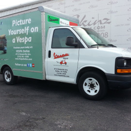 Mobile Box Truck Wrapping Advertising for Vespa