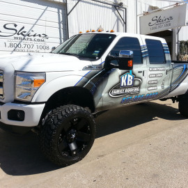 Roofing company truck wrap