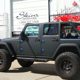 Back View Matte Black Car Wrap Jeep Wrangler