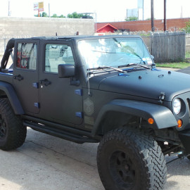 Full View Matte Black Car Wrap Jeep Wrangler