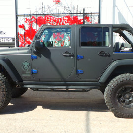 Drivers Side View Matte Black Car Wrap Jeep Wrangler