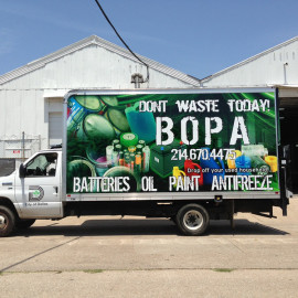 Mobile Box Truck Wrapping Advertising for BOPA Recycling