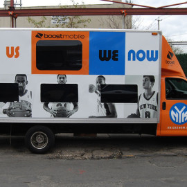 Mobile Truck Wrapping Advertising for Boost Mobile