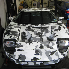 Custom-Snow-Camo-pattern-wrap-with-a-matte-laminate-on-a-Ford-GT-in-Austin