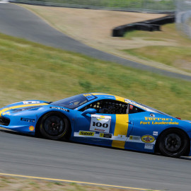 Blue and yellow race car wraps