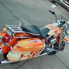 Graphics-Motorcycle-wraps-installed-on-a-Custom-Bagger