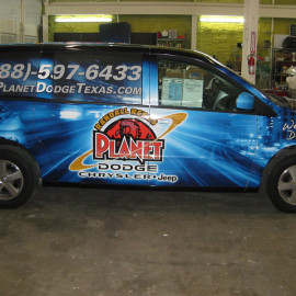 Custom van wrap for Dodge dealership