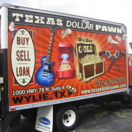 Mobile Truck Wrapping Advertising for Texas Dollar Pawn