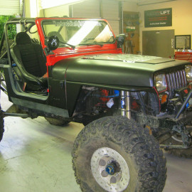 Matte Black and Red Jeep Wrap