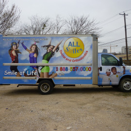 Mobile Truck Wrapping Advertising for All Smiles Dental