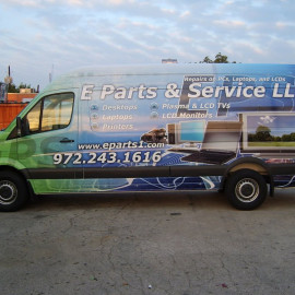 Van wrap for e parts business