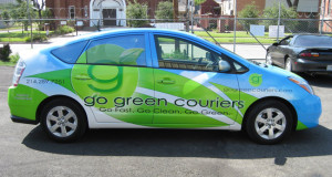 Vinyl Vehicle Wrap on a Prius for Go Green Dallas