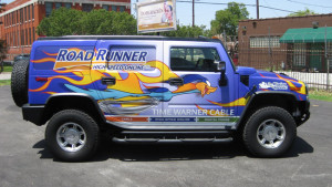 Vehicle Wraps, Car Vinyl Wraps, Dallas TX. Full vehicle wraps of H2 for Time Warner Cable in Dallas TX