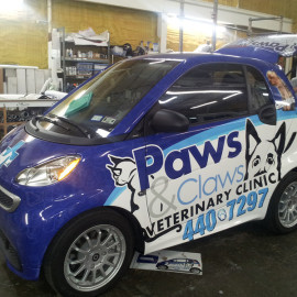 Paws & Claws Veterinary Clinic - Smart car vehicle wrap for business