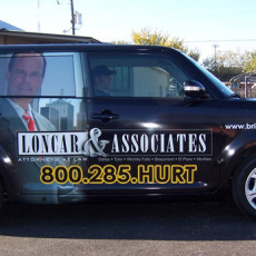 scion vinyl wraps for Loncar & Associates in Dallas TX