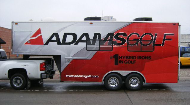 Vinyl graphics wrap installed on a trailer for adams golf