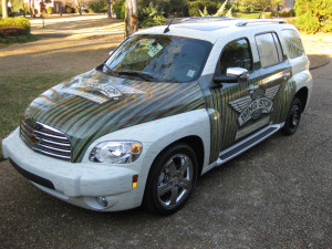 Vinyl Custom Wrap, Vehicle Wrap, Commercial Car Wrap. Vinyl vehicle wraps for Wing Stop in Jackson, Mississippi.