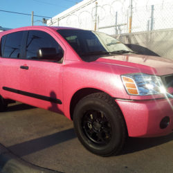 Glittery pink car wraps in Dallas, Texas
